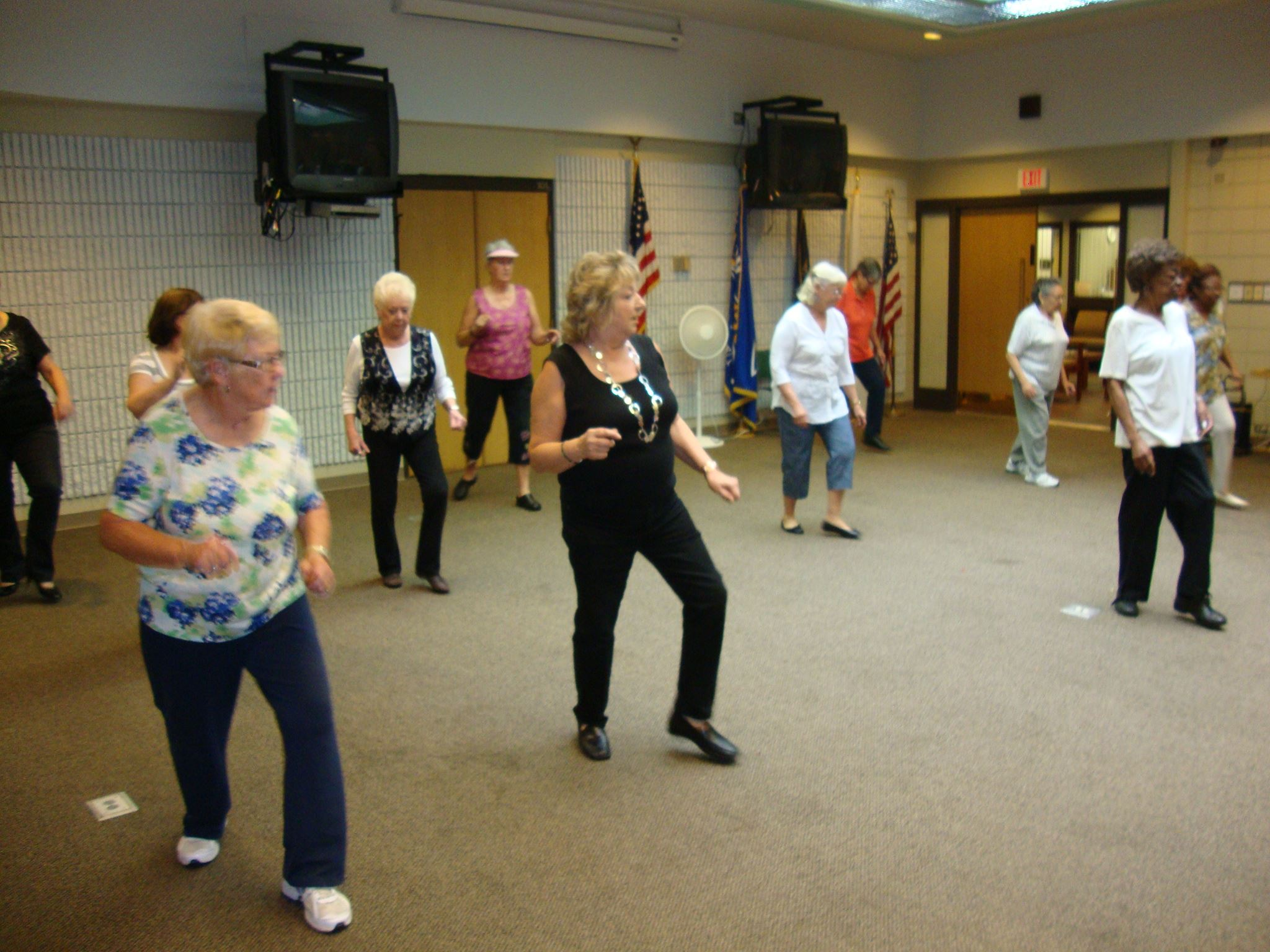 Older Adults practice Line Dancing